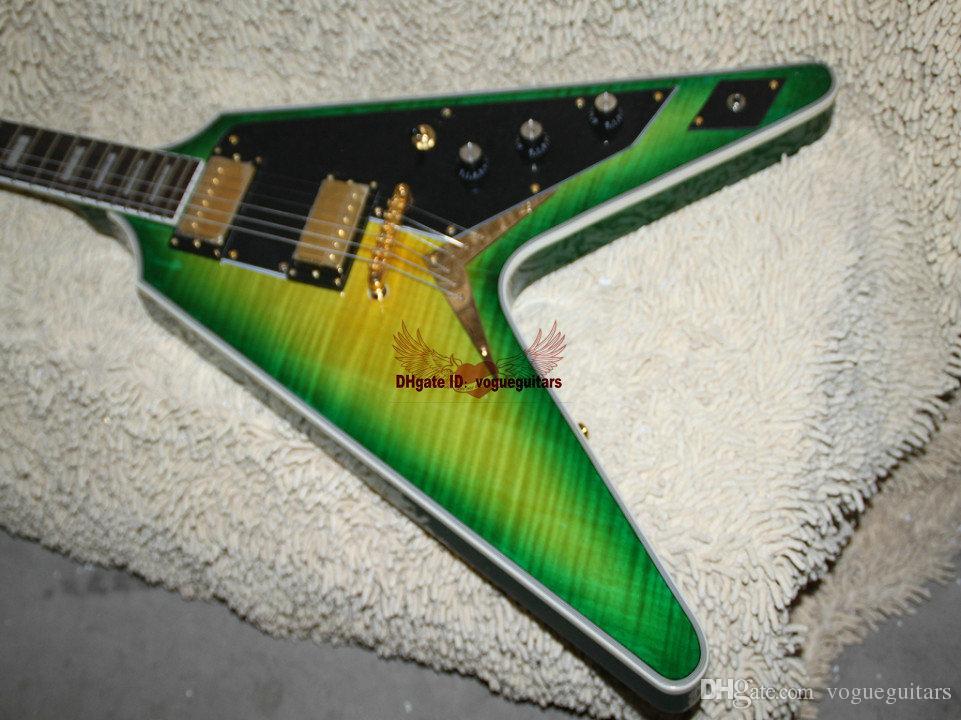 Instrumentos musicales de alta calidad El más nuevo Custom Shop FV Guitarra eléctrica Green Burst Mahogany Envío gratis