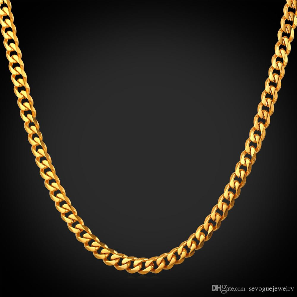 18K Real Gold Plated Necklace Men Jewelry Cuban Link Chain Stainless