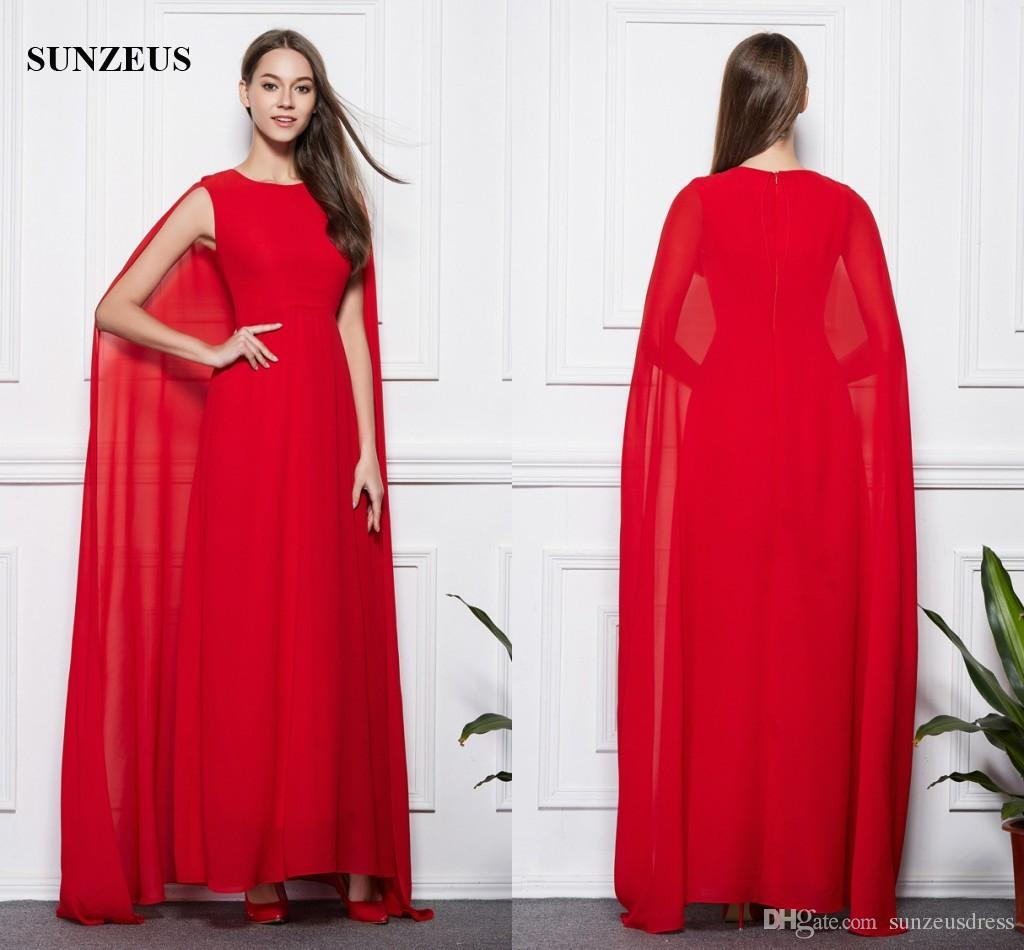 e22eeb656aaa1 Red Evening Dresses With Long Cape Back Elegant Simple Chiffon Formal Gowns  Watteau Train Party Dress Caftan Occasion Dresses Uk Cheap Evening Dresses  From ...