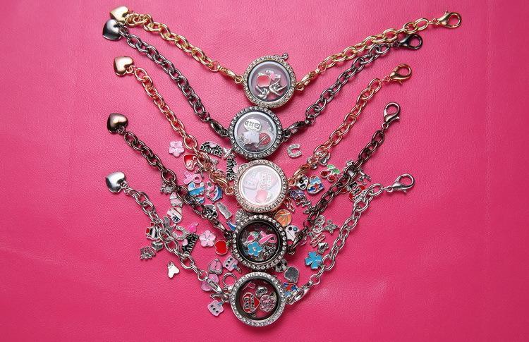 Bracciale in argento a forma di cerchio in argento con 5 fili di cristallo bracciali galleggianti