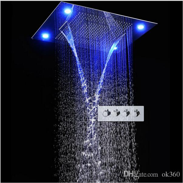 2017 31 large rain shower set waterfall led recessed ceiling mount 4 function shower head remote. Black Bedroom Furniture Sets. Home Design Ideas