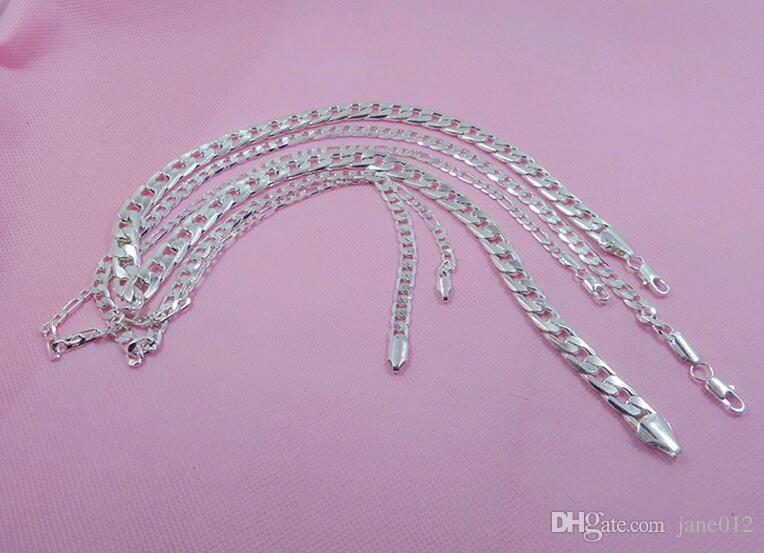 20 inch Figaro Chain Necklace 4.5mm 925 Silver Plated Side Mens Women Neck Chain for Sale Price