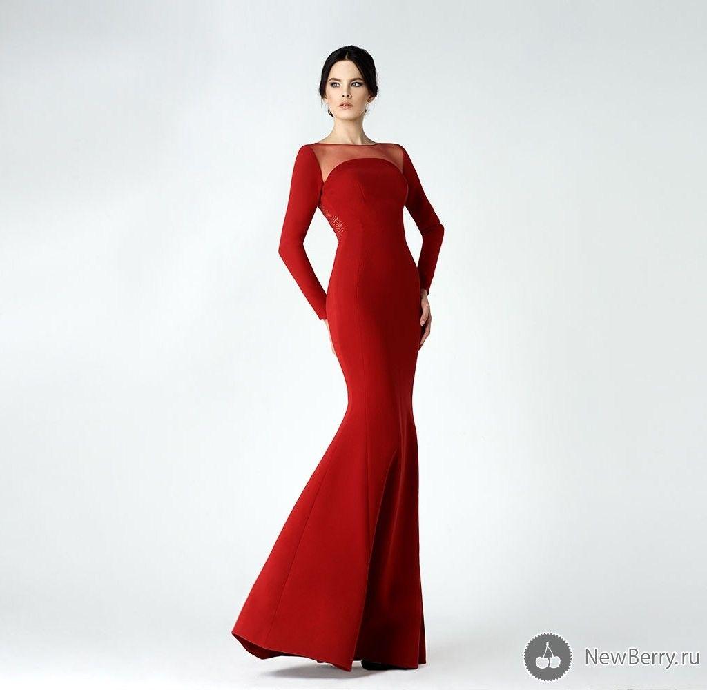 Red Elegant Sheer Neck Evening Gowns 2017 Long Sleeve Mermaid Prom Dresses Floor Length Formal Party Dresses Cheap Custom Made 2016