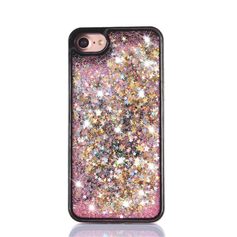 Quicksand Glitter Star Case For Iphone 7 3D Liquid Case Black TPU Floating Glitter heart Case For Samsung Galaxy S8