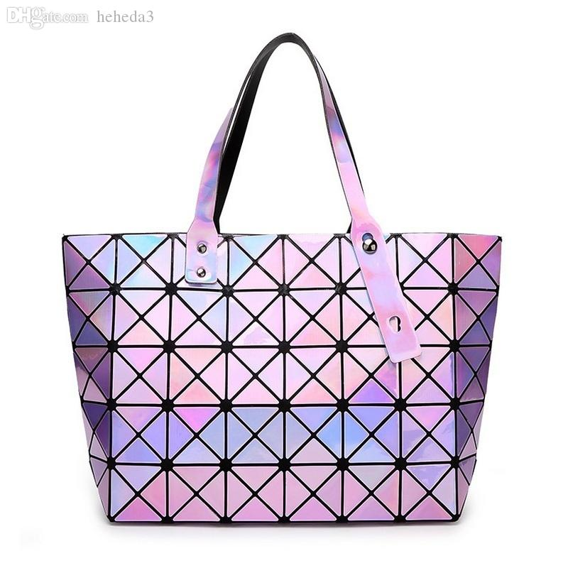 0bcbd9cdb766 Wholesale Laser BaoBao Women Dazzle Color Plaid Tote Casual Bags Female  Fashion Fold Over Handbags Lady Sequins Mirror Saser Bag Bao Bao Evening  Bags ...