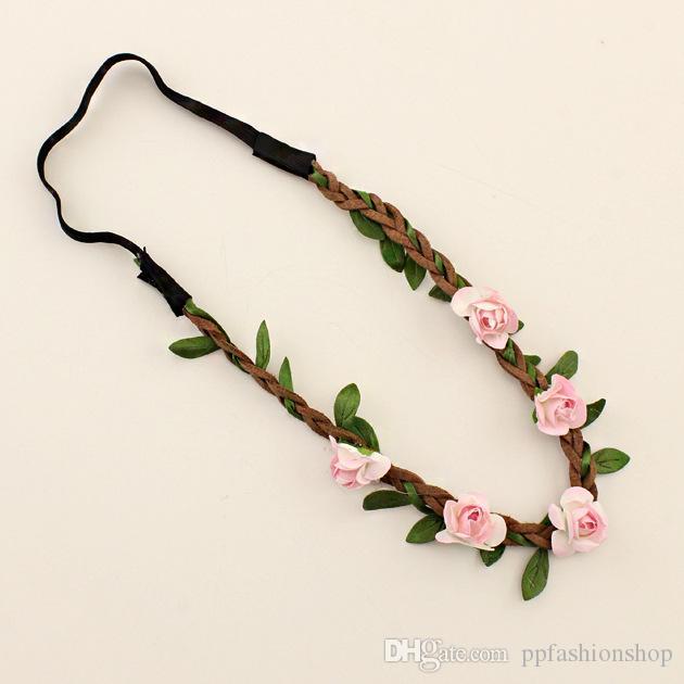 2017 Strand Strand Blume Haarschmuck. Brautbrautjungfern-Blumenhaarband, Pflaumenblüte, Papierblumengurt, ledernes Seil