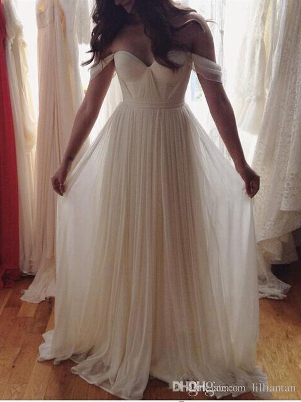 Robes de bal blanches robes de demoiselle d'honneur en mousseline A-ligne hors épaule plis robes de soirée robe de graduation 8e année robes de soirée