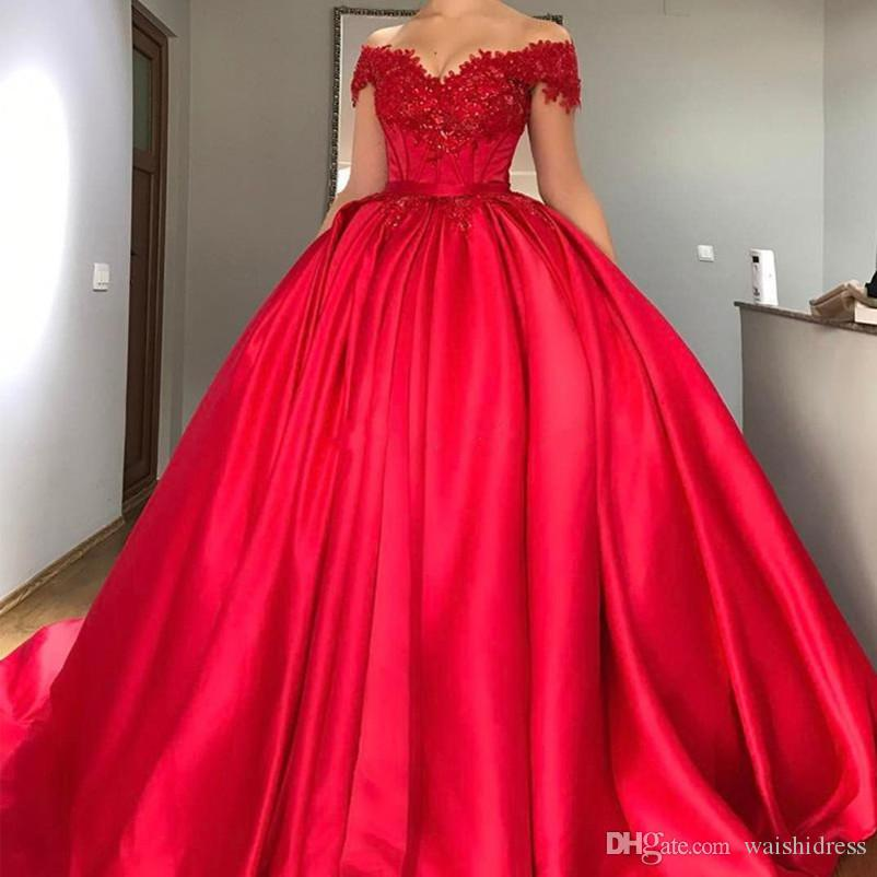 Modest Off Shoulder Red Ball Gown Quinceanera Dresses Appliques