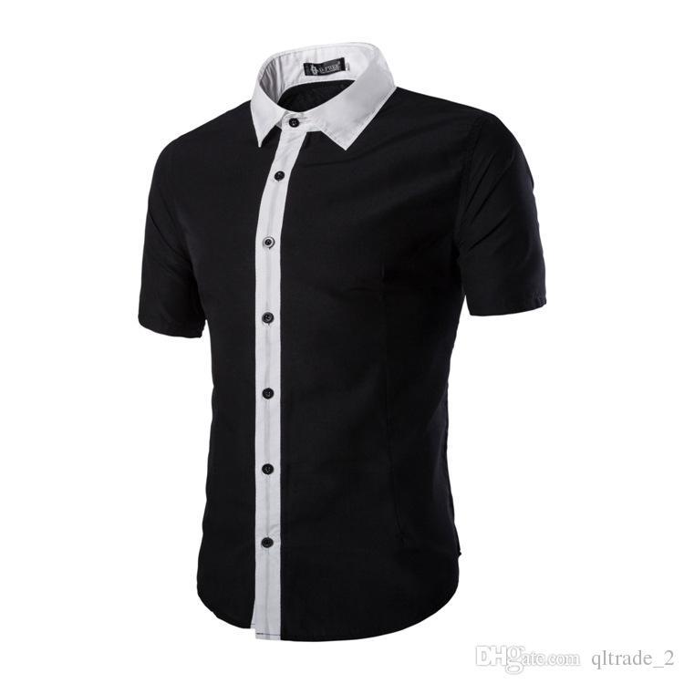 2016 년 여름 새 드레스 셔츠 망 패션 맞춤법 색상 반팔 셔츠 슬림 남성 짧은 비즈니스 셔츠