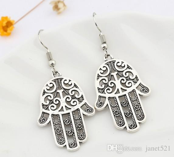 Vintage Earrings Hamsa Hand Chinese Miao Silver Tone Dangling Earrings Womens Jewelry Gifts For Her