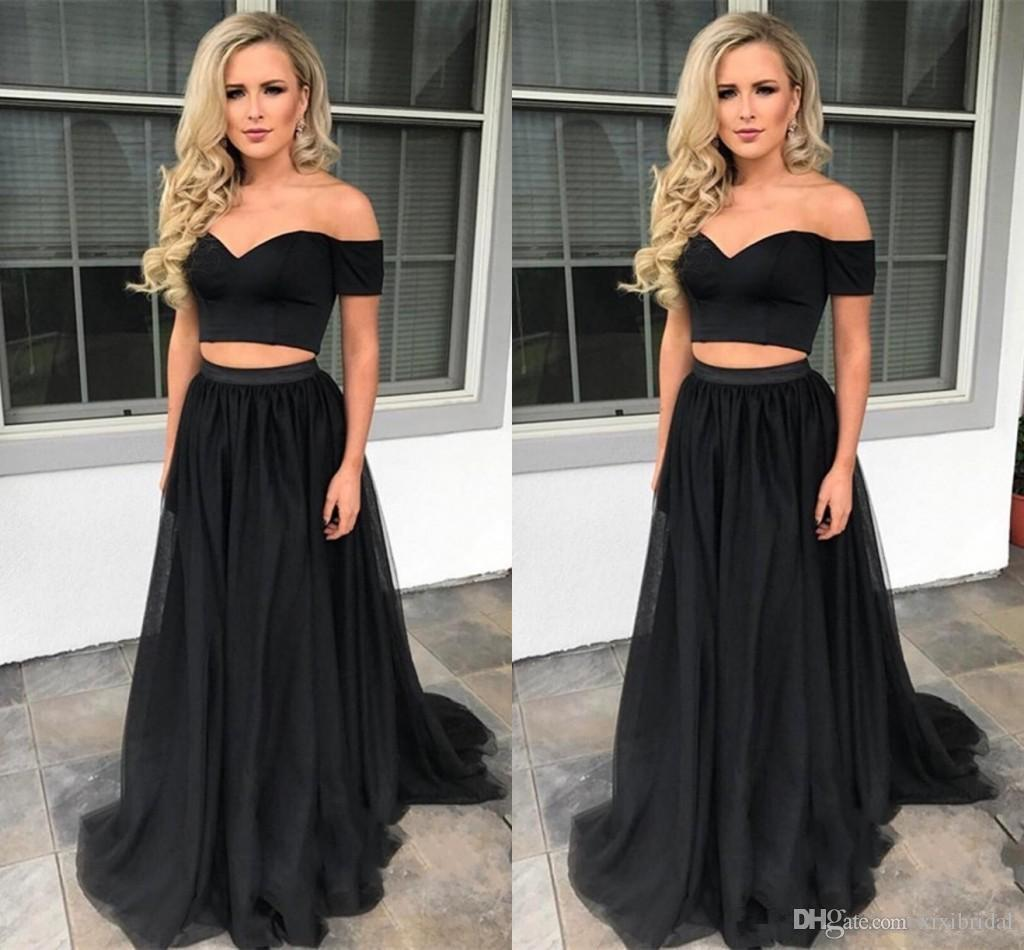 6107f108136 2018 Black Two Pieces Dress Long Evening Gowns Off Shoulder Formal A Line Prom  Party Dresses Robe De Soiree Evening Dress With Sleeves Evening Dresses ...