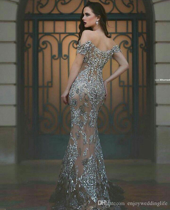 2021 Gray Major Beading Off Ombres Formal Vestidos de Noite Cristais Frisado Longo Vestidos de Provocação Árabe Vintage Vestidos Feitos sob encomenda