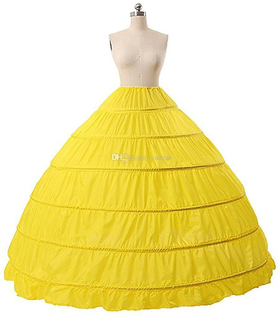 2019 Nova Chegada vestido de Baile 6 Anéis Anágua De Alta Qualidade Underskirt Para O Casamento Em Estoque Plus Size 6 Aros Quinceanera Nupcial Crinolina Quente