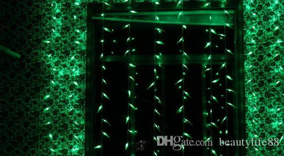 Santa Claus Christmas Wedding Restaurant Hotel Green Background Light 300LED Willow Cortina Light Light Style Light