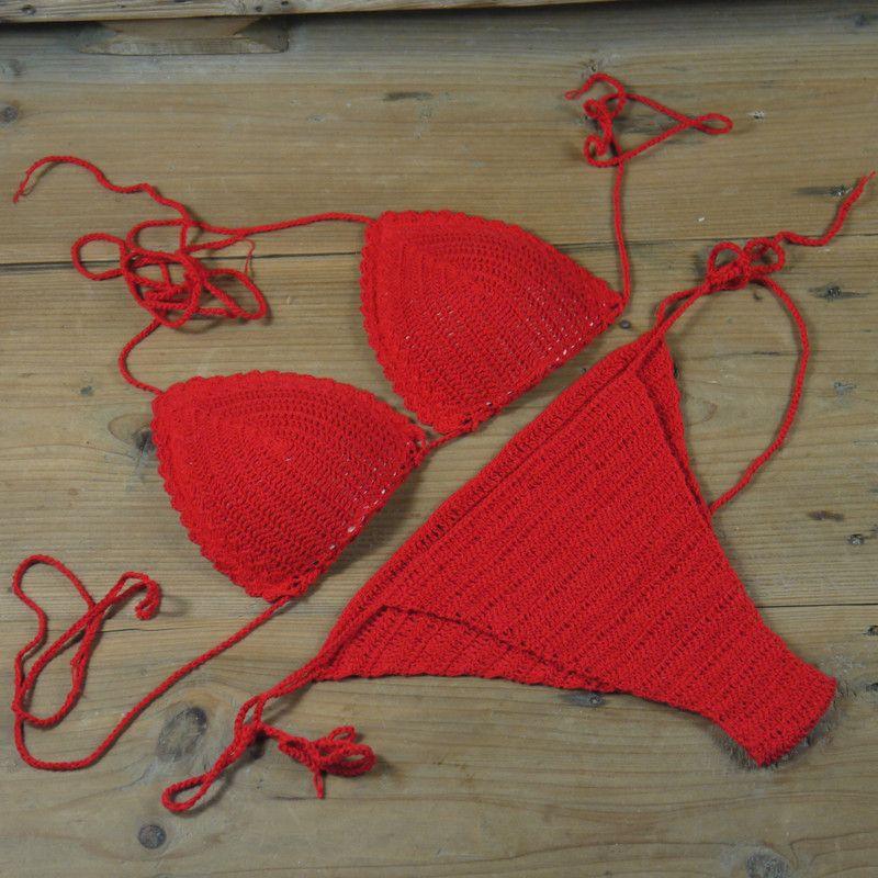 New String Brazilian Swimwear Red Handmade Crochet Bikini Bottom + Top Beach Wear Laces