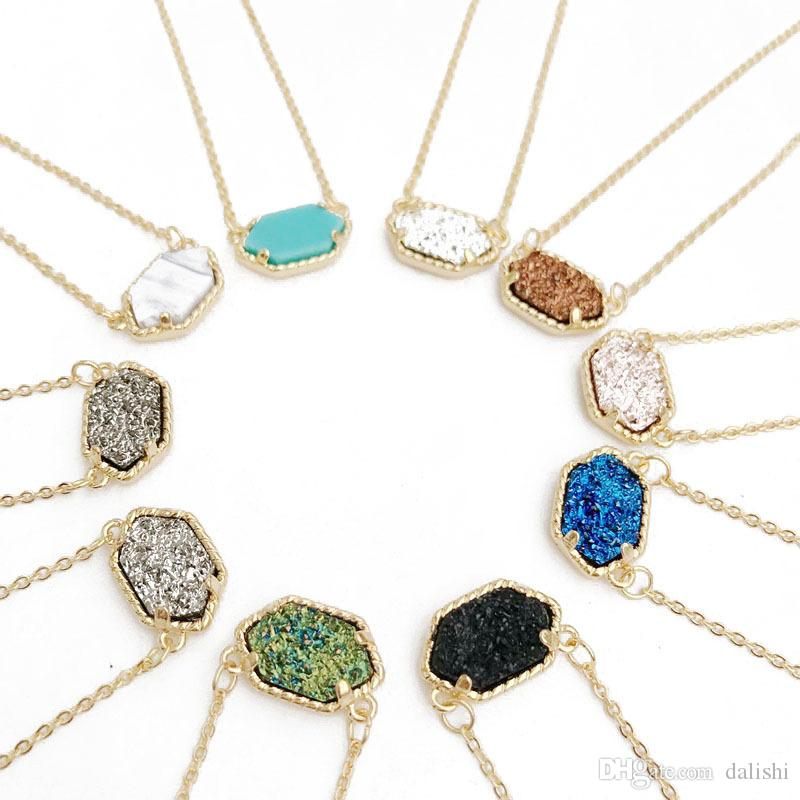 Kendra Druzy Stone Earrings Geometric Color Gemstone Pendant necklace Brass Gold Plating for Lady