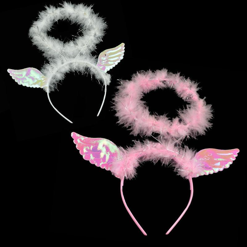 halloween costumes party supplies decoration angel feather angel halo head hoop hair band for lady girls cosplay party ball costume - Halloween Halo
