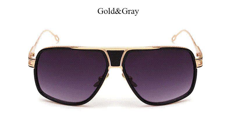 1ca3effb9b Compre Nuevo Cuadrado De La Manera Gafas De Sol Hombres Primera Marca De  Lujo Del Marco Del Oro Del Metal UV400 De Las Mujeres Gafas De Sol Varón De  Alta ...