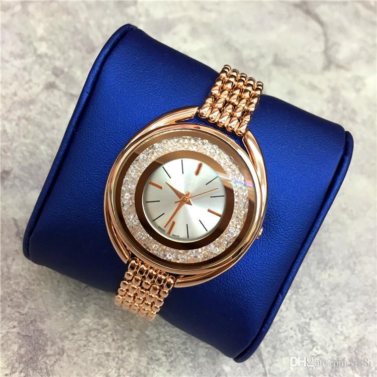 Heißer Verkauf Luxus Frauen Uhr Rose Gold Edelstahl Dame Armbanduhr Armband Kleid Uhr Sexy Schmuck Schnalle Multi Farben Rolling Diamonds