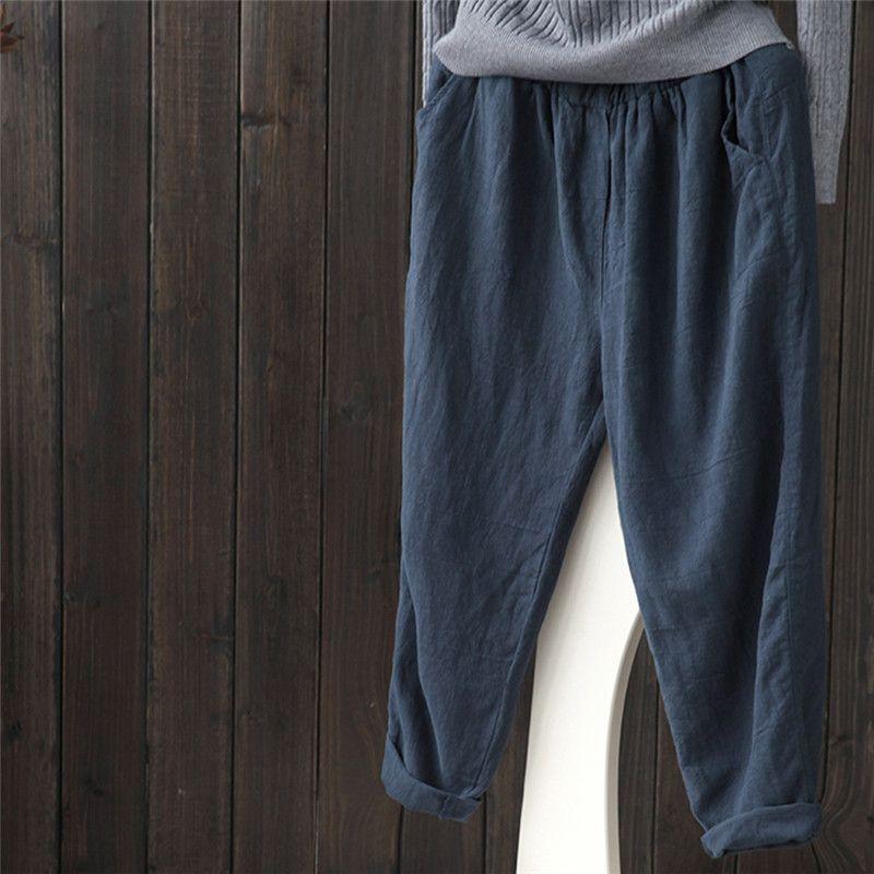 Unique Women Men Linen Cotton Harem Pants Baggy Loose Fit Trousers Casual  IQ18