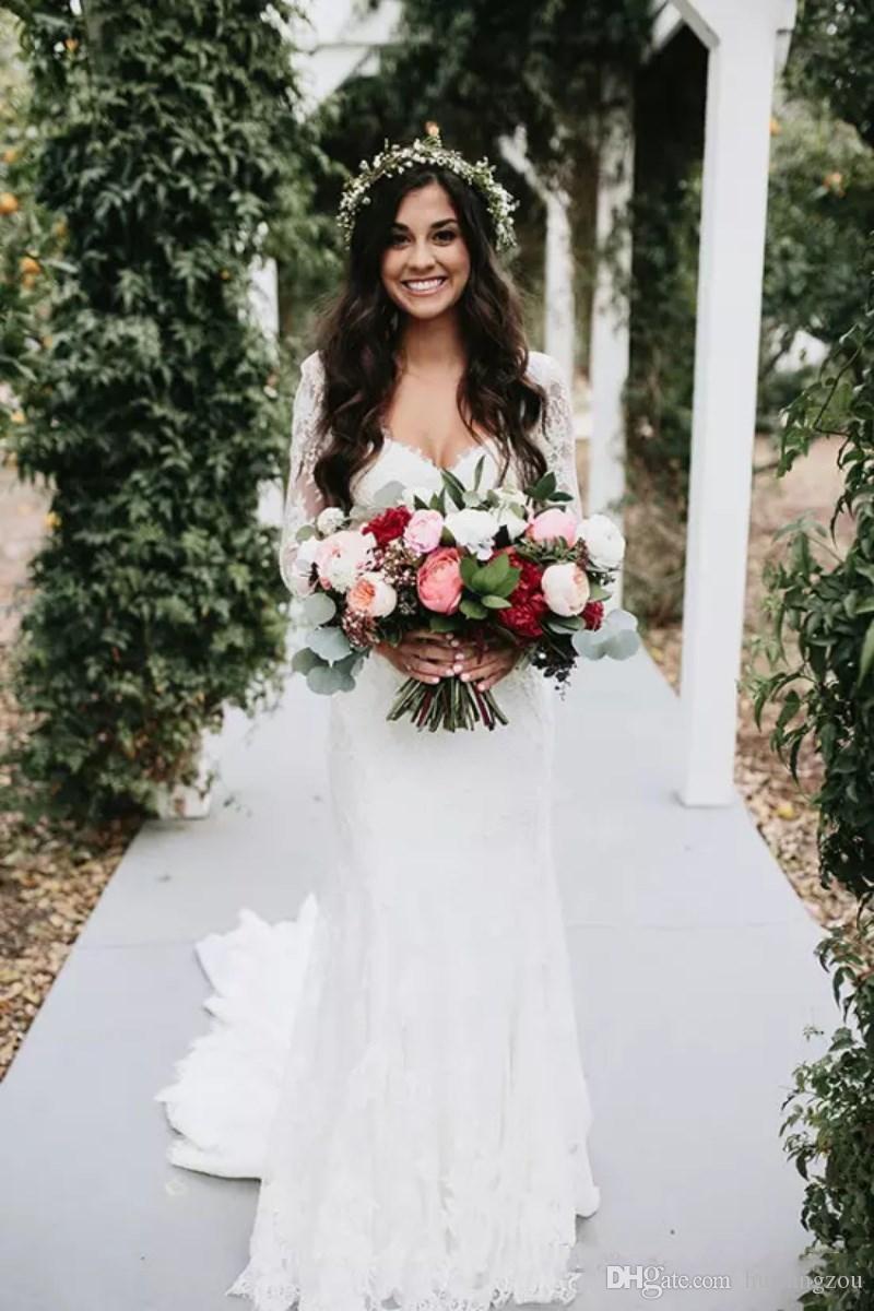 Sexy Bohemia Mermaid Brautkleider Kostenloser Versand V-Ausschnitt mit langen Ärmeln Brautkleid Volle Spitze Applique Backless Brautkleider