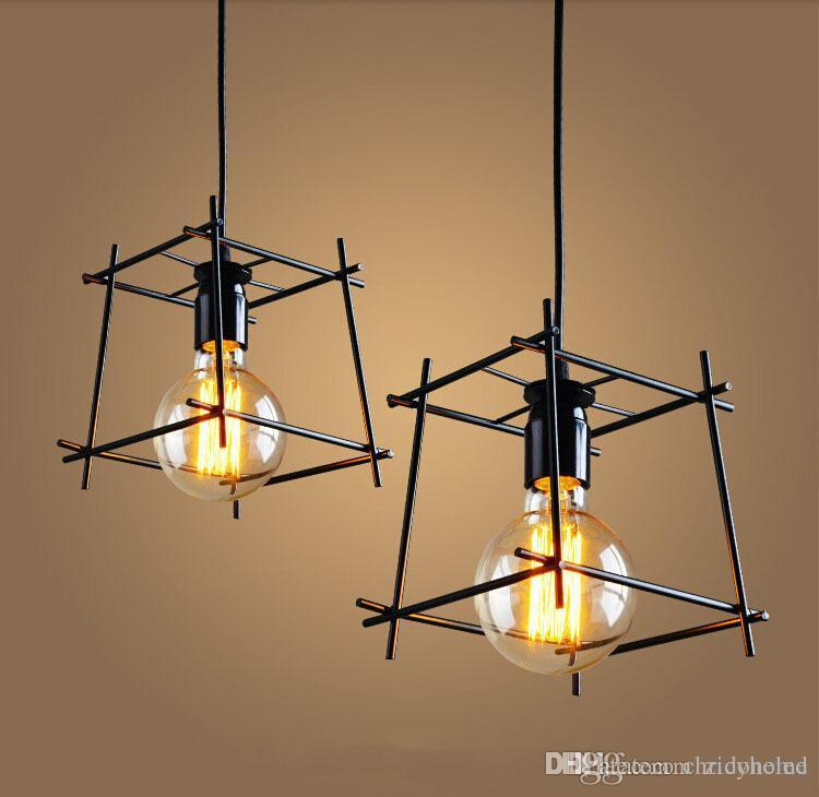 industrial cage lighting. American Loft Vintage Pendant Light Personality Wrought Iron Lights Edison Nordic Lamp Industrial Cage Lighting Fixtures Dining Room Ceiling V