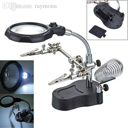 Wholesale-3.5X Helping Hand Soldering Stand With LED Light Magnifier Magnifying Glass Store48