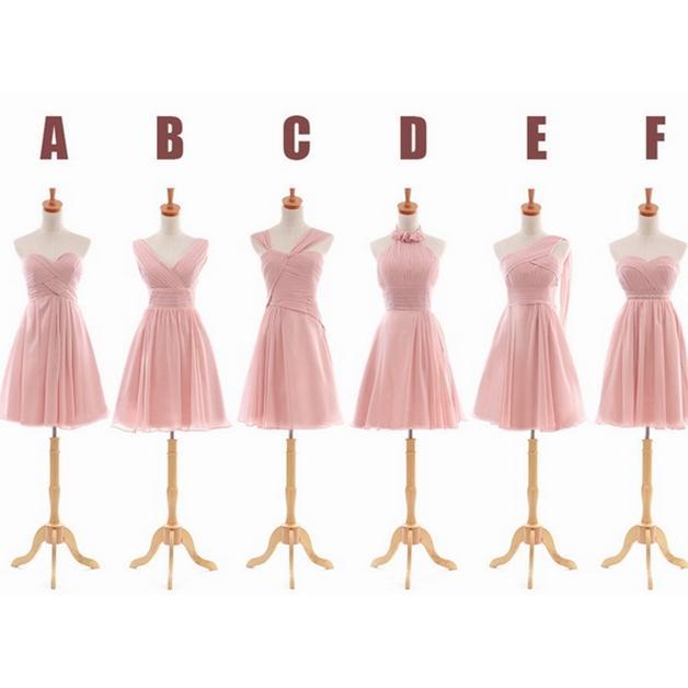 Pleated 짧은 쉬폰 신부 들러리 드레스 라이트 핑크 2019 우아한 파티 드레스 웨딩 레이스 최대 6 스타일 혼합 주문