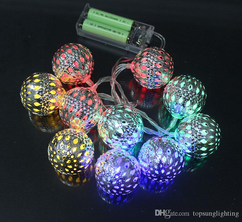 10leds metal ball battery light strings christmas tree decorative lights holiday lighting wedding fairy lights string lights indoor party string lights from