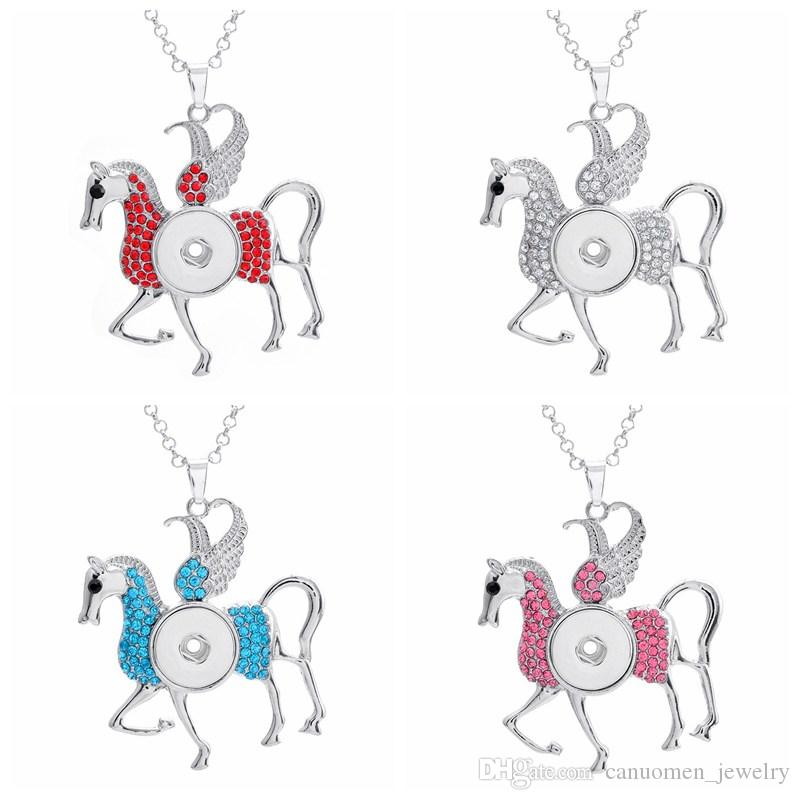 Unicorn pendant necklace with crystal diamond noosa snap button link unicorn pendant necklace with crystal diamond noosa snap button link chain horse jewelry women and children gift wholesale unicorn pendant necklace snap aloadofball Choice Image