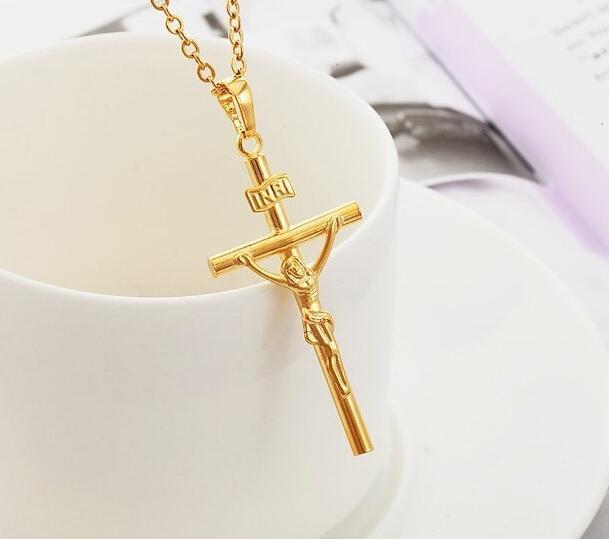 Wholesale gold chain for men jesus piece trendy 18k gold plated gold chain for men jesus piece trendy 18k gold plated stainless steel inri crucifix cross necklace men jewelry aloadofball