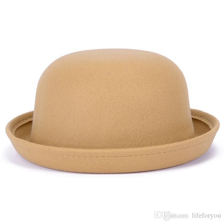 Vintage Girls top fashion Fascinator Bowknot Floppy Stingy Brim Hats Cute Cats Caps miscela feltro Trilby bombetta cappello regalo di Natale