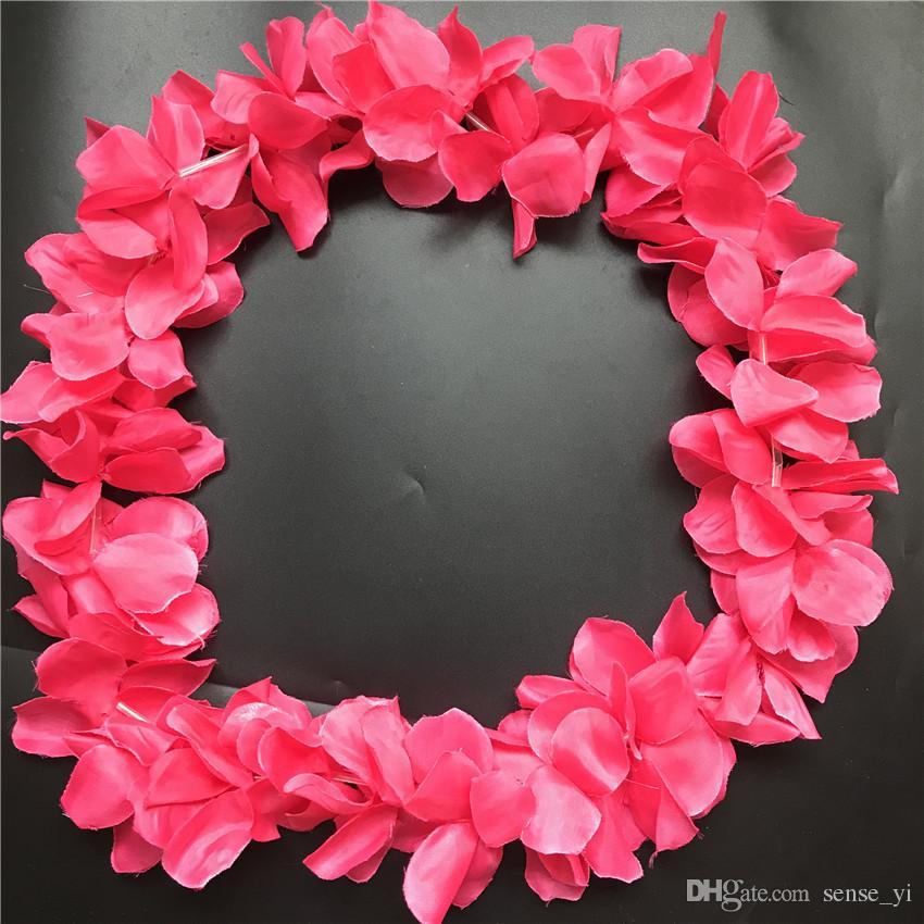 2019 Dark Pink Hawaiian Leis Jumbo Necklaces Festive Party Garland