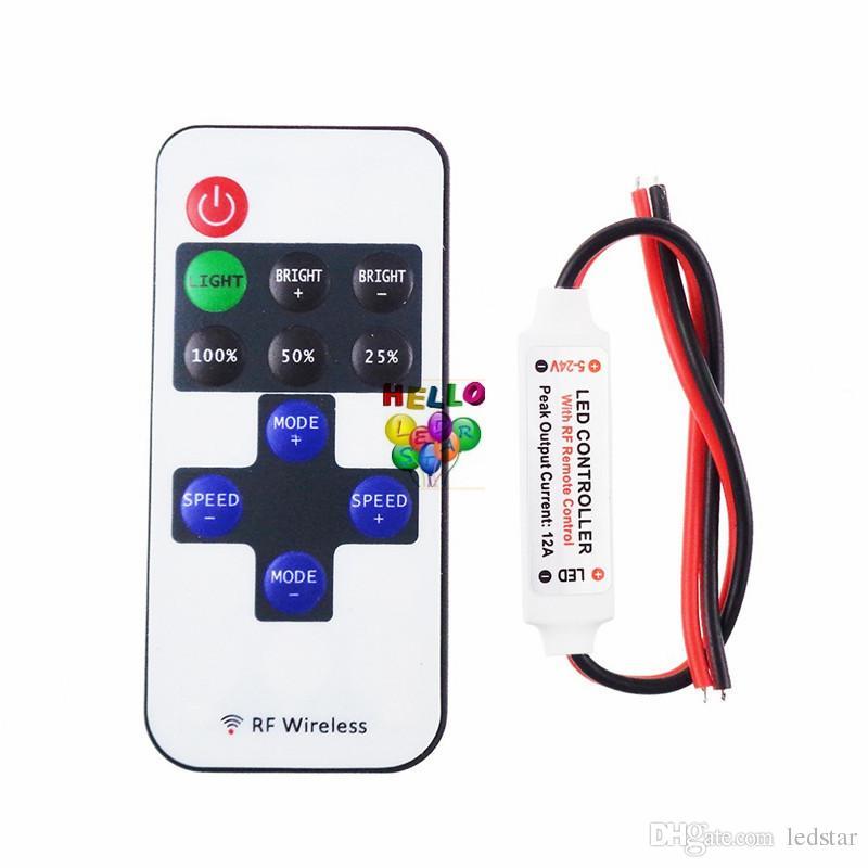 LED Strip Light Controller 11Key RF Trådlös fjärrkontroll Ljusstyrka Justerbar 12V 24V Strömförsörjning 6A Utgång DHL Free