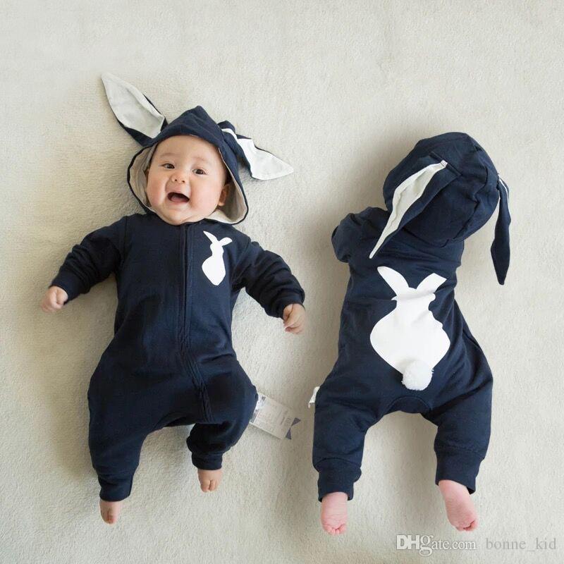 46dea891f5b8b Compre Bonito Bebê Recém Nascido Animal Jumpsuit Kid Romper Pijamas De  Roupas De Algodão Coelho Com Capuz Orelhas Compridas Chapéu Criança Macacão  Onesys ...