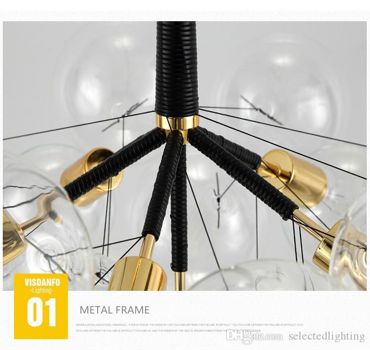 Modern Bubble Glass luces colgantes accesorio Home Deco Glass Ball lámpara colgante DIY E27 Suspensión Clear Glass lámpara colgante