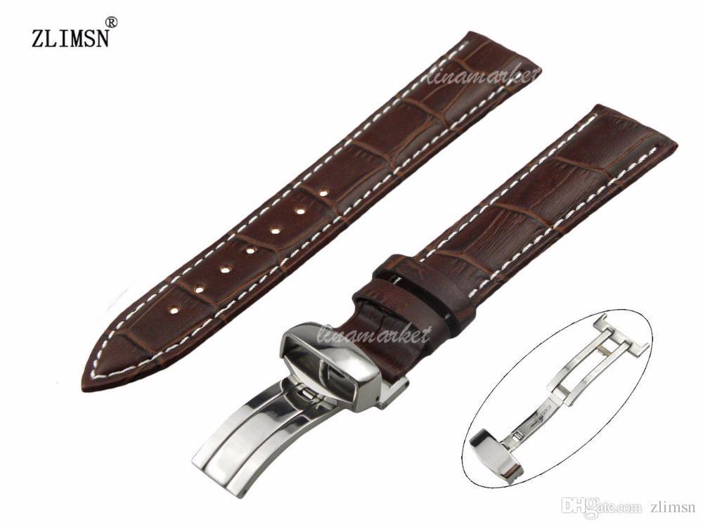 e735c5a76516 Correa de reloj con correa de línea blanca y marrón ZLIMSN marca 19 mm 20  mm 21 mm NUEVO 100% de cuero genuino para CASIO Relogio Masculino