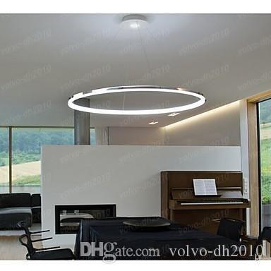 Lampada a sospensione Modern Design Living LED Ring Bianco 1 anello 35w Finitura acrilicaIl diametro è 80cm Utilizzato nel salotto e nella camera da letto dell'hotel