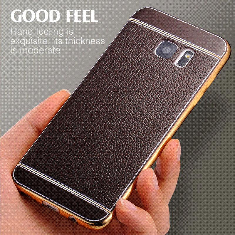 promo code 21363 3d199 For Samsung Galaxy S7 Edge Case Luxury Plating Retro Leather TPU Case For  Samsung Galaxy Note 7/S7 Back Cover Mobile Phone Cases