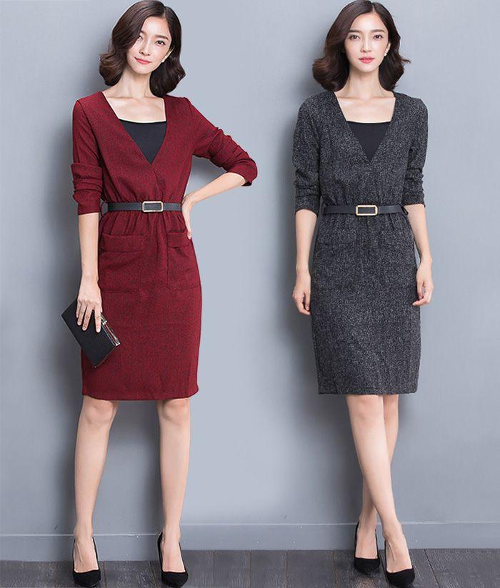 brand new 5eaff 196b5 Elegante abito autunno inverno 2017 Plus Size Donna manica lunga abiti  stile medio Sexy aderente lunghezza del ginocchio abiti da lavoro vestito  ...