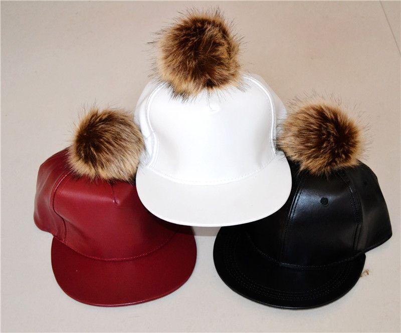 802d61e3aeac8 PU Leather Baseball Cap Pom Pom Faux Fur Hats Harajuku Style ...