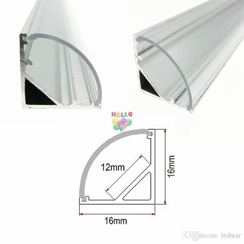 2m 45 Degree V Shaped Aluminum Wall Corner Triangle LED Bar Lights Accessories Channel Holder Milk/Clear Cover End Up for LED Strip Light