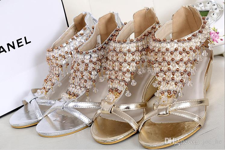 Wedding Beaded New Sandals Gold Shiny Shoes Silver Bohemian QWrxodCBe