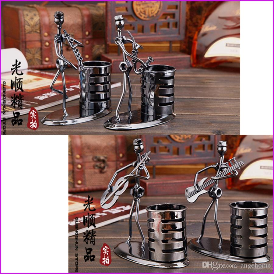 hand made music man iron art steel pen container holder pencil cup