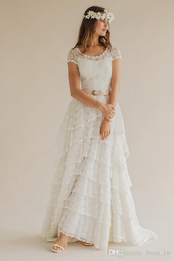 Bohème 2016 robes de mariée de plage d'été Boho dentelle Scoop manches courtes à plusieurs niveaux longues robes de mariée sur mesure en Chine EN52512