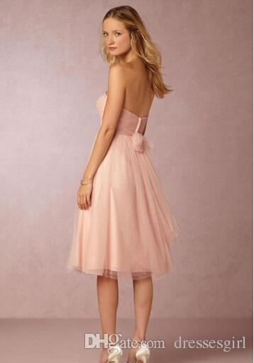 New Design Two Pieces Blush Pink Bridesmaid Dresses Lace Crop Tulle Knee Length Cocktail Gowns Short Beach Maid of Honor Wedding Dresses