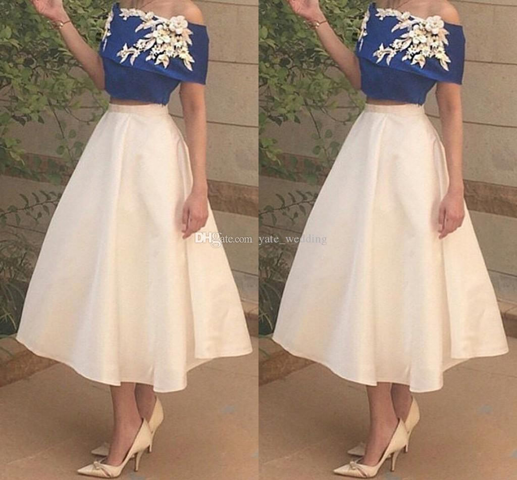 2017 Fashion Two Piece Short Prom Dresses Off Shoulder Elastic Satin Royal Blue White Ankle Length Party Dresses Cheap Arabic Evening Gowns