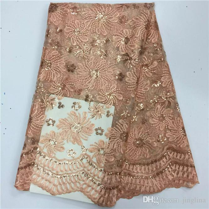 Rose Gold Sequin Net Fabric For Sewing Dress African Voile Lace ...