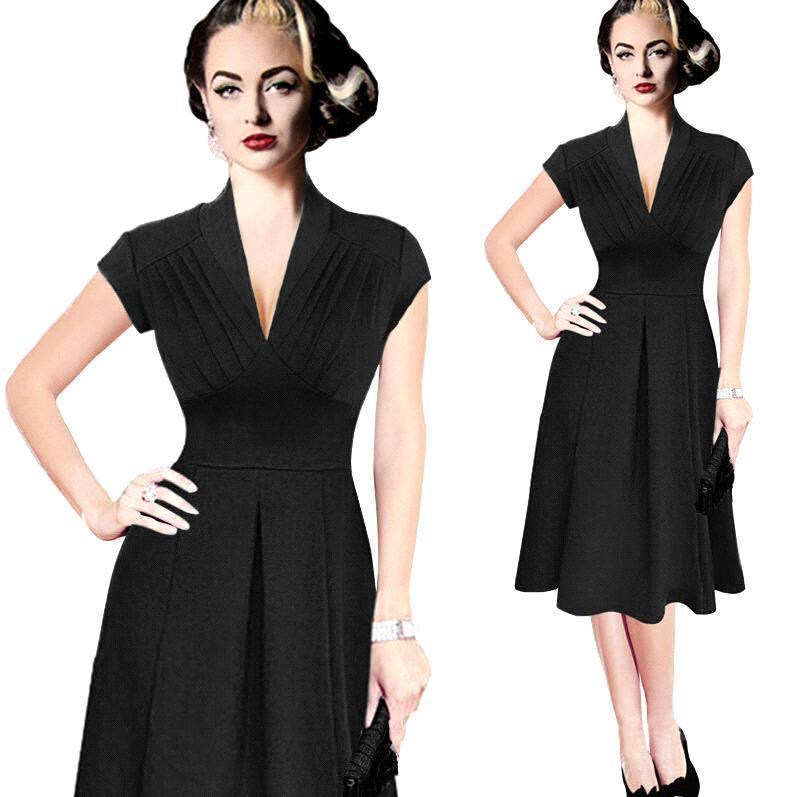 Nice Sexy V Neck Retro Vintage Dress 44s Swing Dress Rockabilly