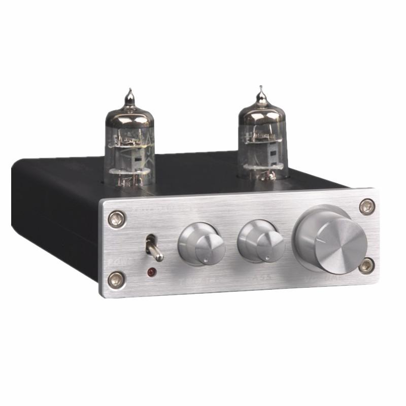 Freeshipping ZHILAI D2 HIFI Tube Preamp 6J1 Valve Audio Preamplifier Dual  Channel Treble Bass with Power Adapter Silver Black Hot Sale